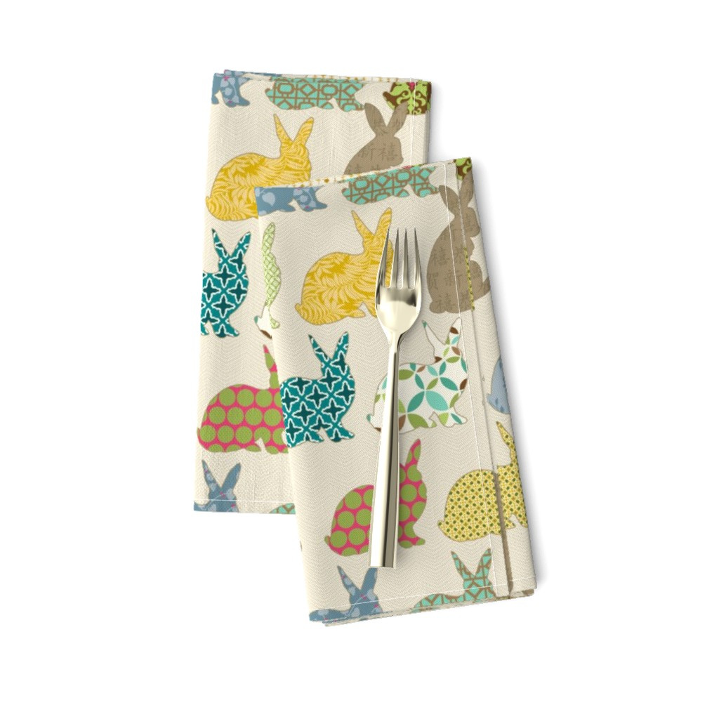 Amarela Dinner Napkins featuring year of the COLORFUL rabbit by littlerhodydesign