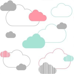 Gray Mint Coral Clouds on White Large