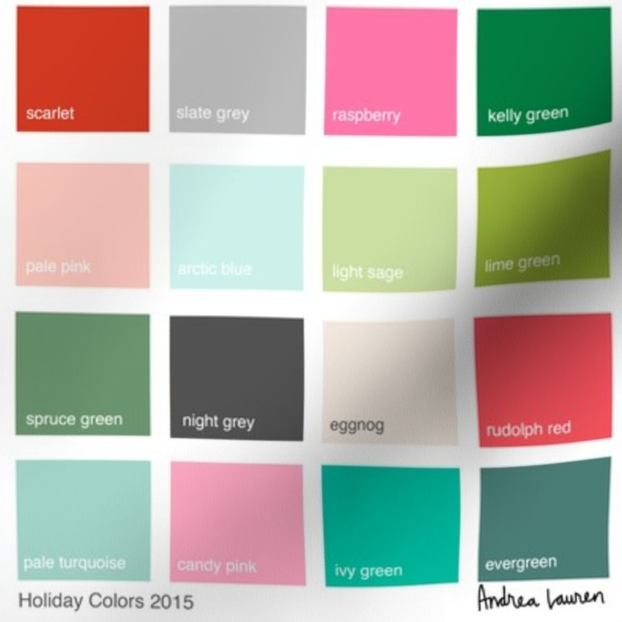 Christmas Colors Palette.Fabric By The Yard Christmas Color Palette 2015 By Andrea Lauren