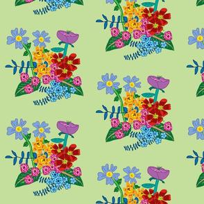 Danita's Detailed Flowers on Green