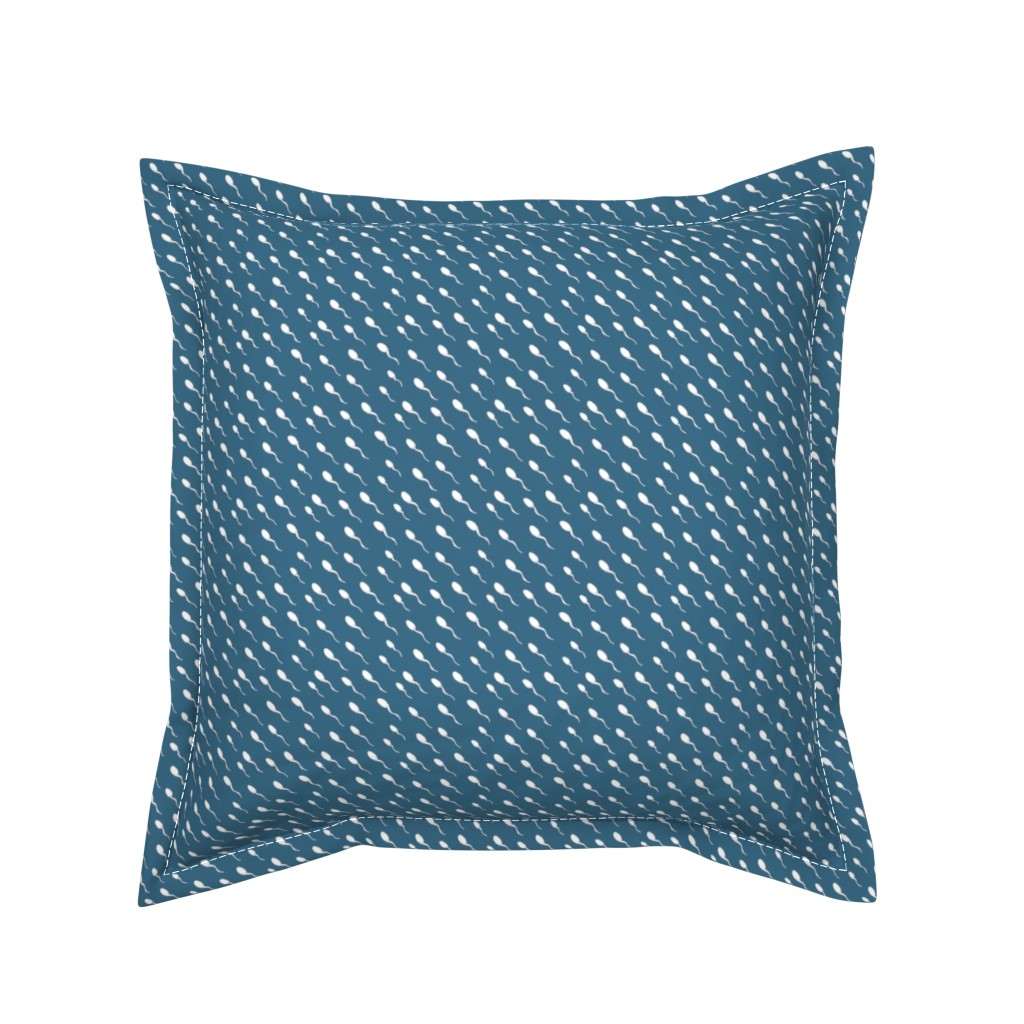 Serama Throw Pillow featuring Swimming Sperm in Blue by joanandrose