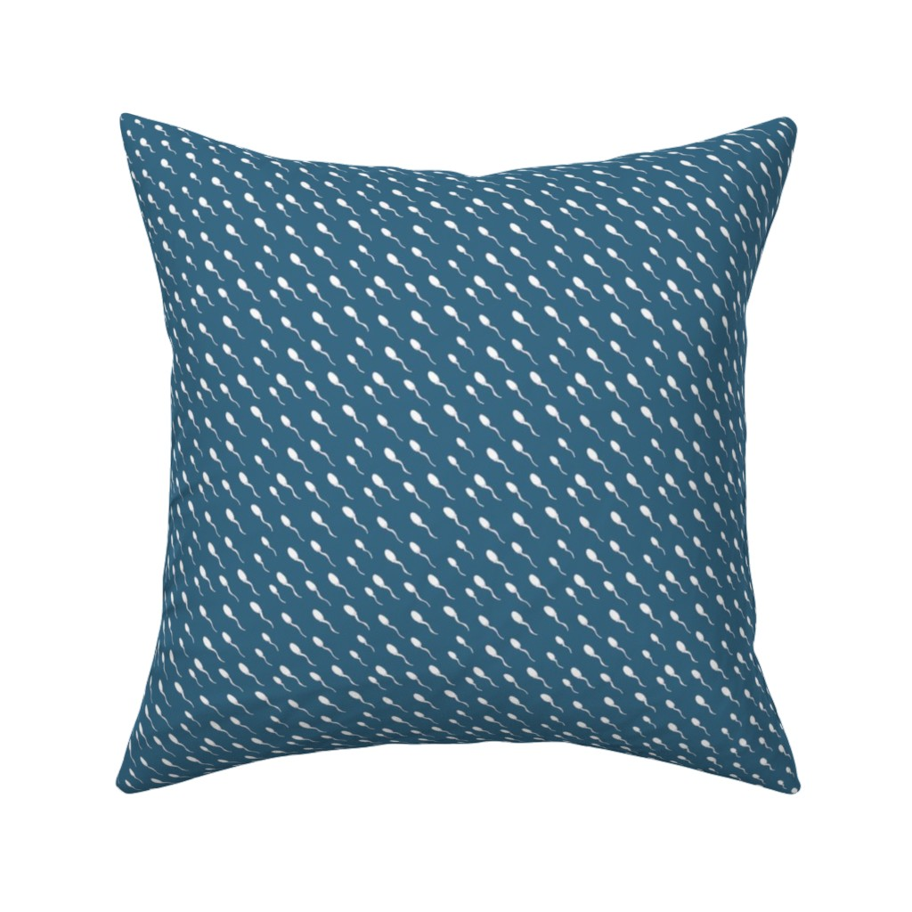 Catalan Throw Pillow featuring Swimming Sperm in Blue by joanandrose
