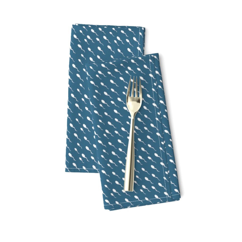 Amarela Dinner Napkins featuring Swimming Sperm in Blue by joanandrose