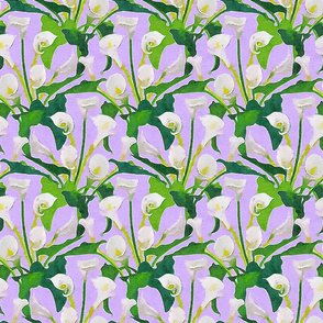 Watercolor callas on a lilac ground