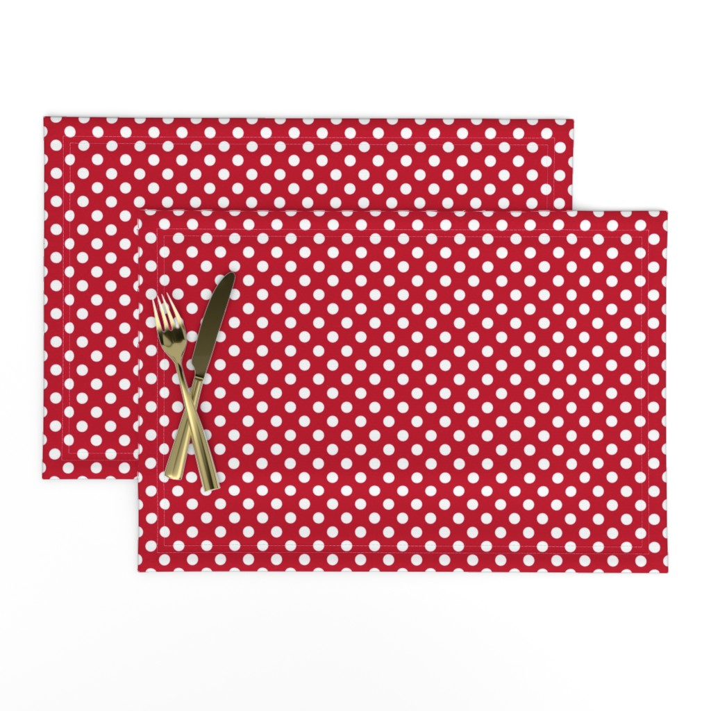 Lamona Cloth Placemats featuring Red + Polka White Dots by mia_valdez