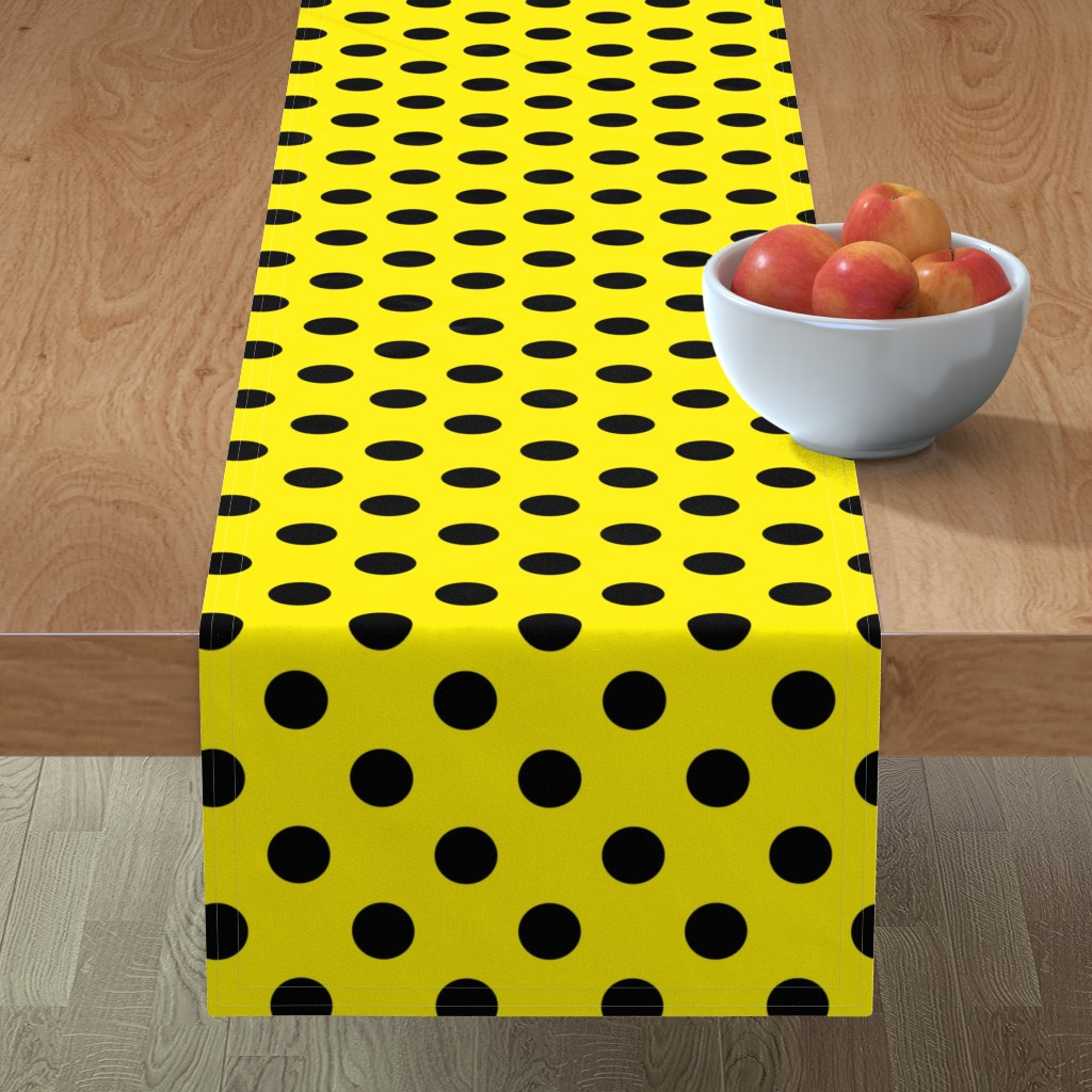 Minorca Table Runner featuring Canary Yellow  + Polka Black (1 and a half inch) Dots by mia_valdez