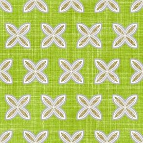 Faux linen cuatro spring green