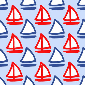 Red, White, & Blue Sailboats