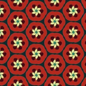 Pomegranate Retro Spiral Flowers