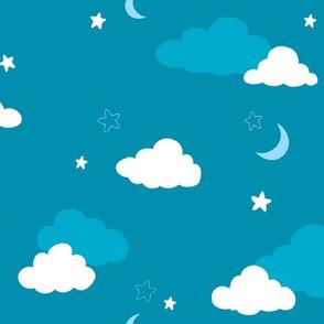Cloud Moon Star Large DARK TEAL