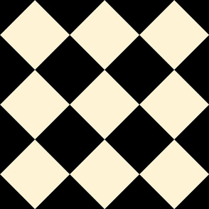 Wonderland Chessboard Check ~ Black and Gypsophila