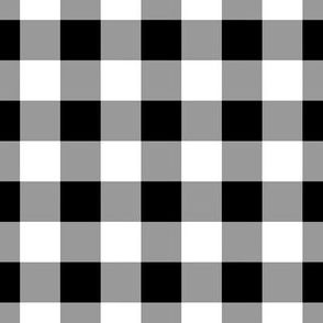 Gingham ~ Black and White and Grey All Over ~ One Inch