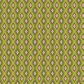 Folky Dokey-Golly Ogee in Army-Serenity colorway