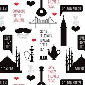 Cool turkish Istanbul urban city travel icons illustration black and white