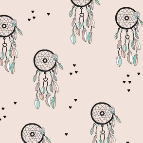 Cool bohemian gypsy indian summer dream catcher with feathers illustration pastel colors and hearts gender neutral