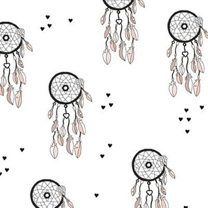 Cool bohemian gypsy indian summer dream catcher with feathers illustration black and white and hearts gender neutral
