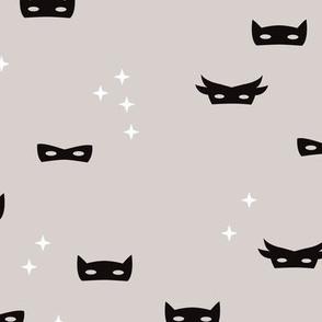 Warm gray super hero mask and stars kids fantasy theme illustration pattern