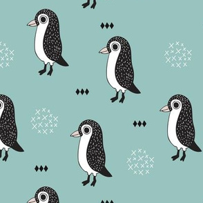 Adorable baby penguin geometric birds illustration and cross and arrow details pattern winter blue