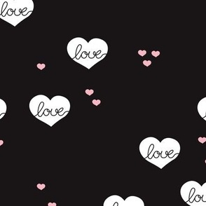 Sweet love scandinavian hearts cool black and white valentine and wedding theme