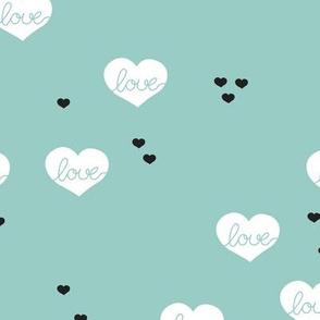 Sweet love scandinavian hearts cool pastel blue valentine and wedding theme mint