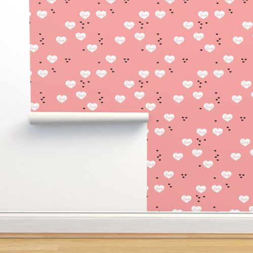 Wallpaper Sweet Love Scandinavian Hearts Cool Pastel Blue Valentine And Wedding Theme Pink