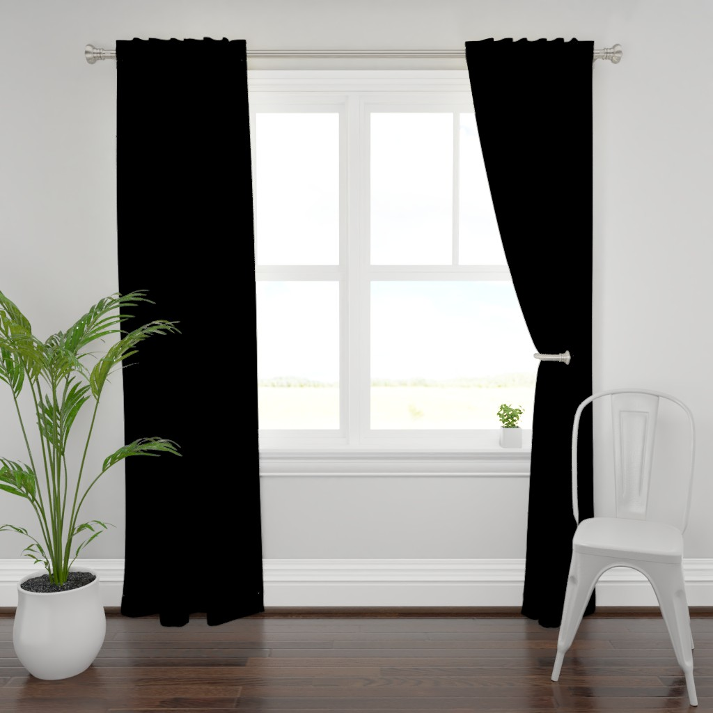 Plymouth Curtain Panel featuring Solid Black by lyddie_doodles