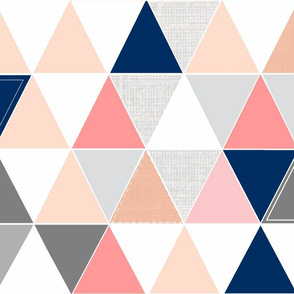 Coral/Navy Sketch Triangle Quilt