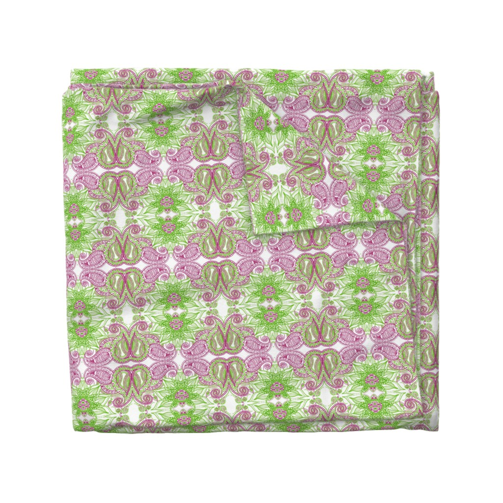Wyandotte Duvet Cover featuring High Contrast Paisley, Fuchsia, Lime by misdestiny