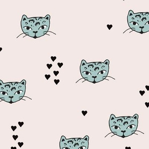 Adorable pastel mint beige and black kitten fun cat illustration in scandinavian abstract style print for kids and cats lovers