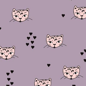 Adorable pastel pink lilac purple and black kitten fun cat illustration in scandinavian abstract style print for kids and cats lovers