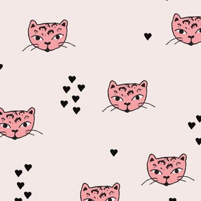 Adorable pastel pink beige and black kitten fun cat illustration in scandinavian abstract style print for kids and cats lovers