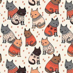 cats wearing sweaters // smaller version of cats holiday christmas sweater illustration in fashion repeating print