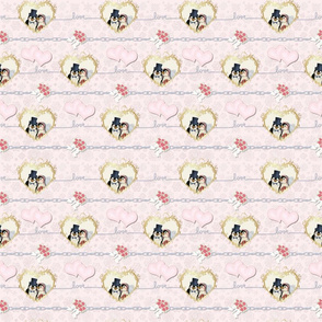 Penguin Wedding Hearts 2 On Pink - Small Print