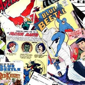 vintage comic book heroes - LARGE PRINT