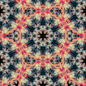 Marbleized Kaleidoscope Star, Hot Pink and Gold