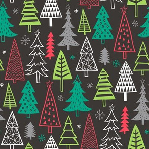 Christmas Forest Trees on Black