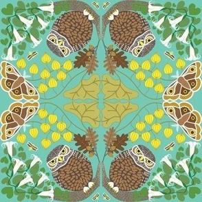 Owl and Moth blue green