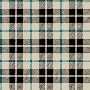 fall plaid teal/tan/black