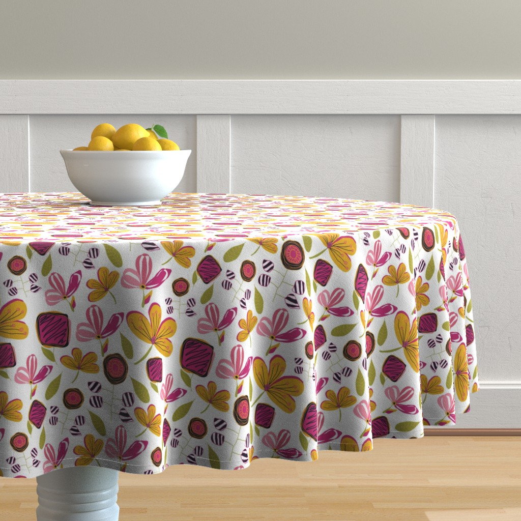 Malay Round Tablecloth featuring Enchanted Garden by studiojulieann