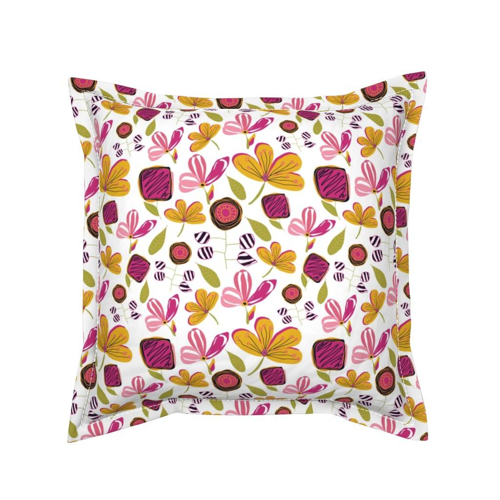 Serama Throw Pillow featuring Enchanted Garden by studiojulieann