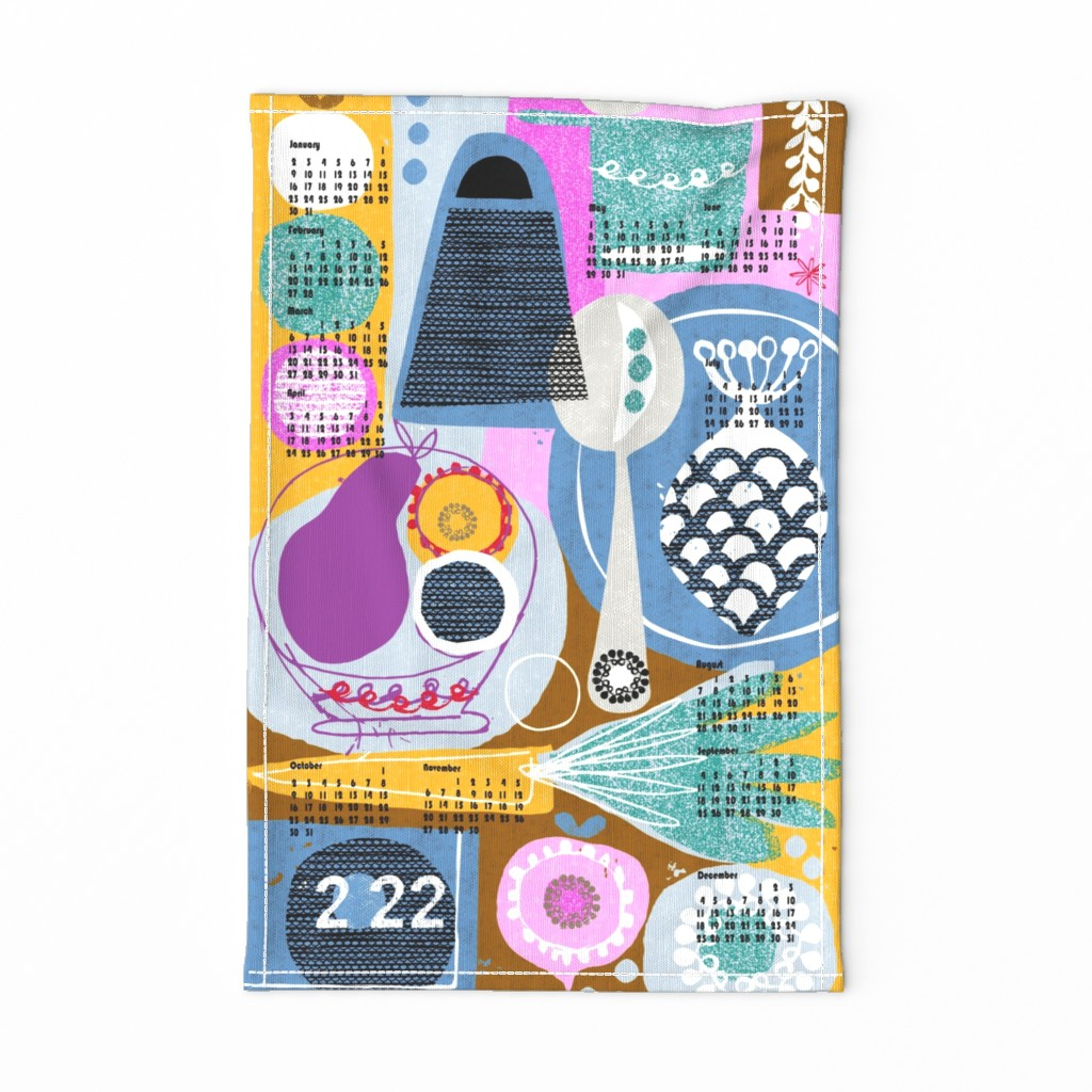 """Special Edition Spoonflower Tea Towel featuring 2020 in the kitchen tea towel calendar 27"""" by ottomanbrim"""