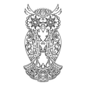 Black Sugar Skull Owl Tile