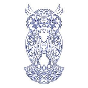 Blue Sugar Skull Owl Tile