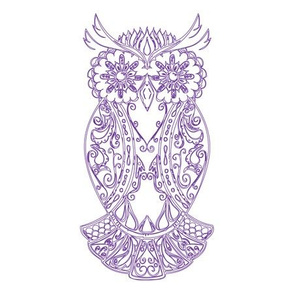 Purple Sugar Skull Owl Tile