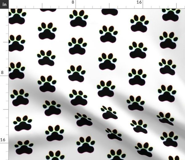 Fabric by the Yard Pawprint Polka dots - 1 inch (2 54cm) - Black (#000000)  with Rainbow Outline on White (#FFFFFF)