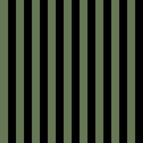 Stripes - Vertical - 1 inch (2.54cm) - Black (#000000) & Willow Grove Green (#667755)