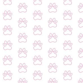 Pawprint Outline Polka dots - 1 inch (2.54cm) - Light Pink (#fba0c6) on White (#FFFFFF)