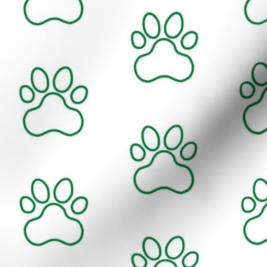 Fabric by the Yard Pawprint Outline Polka dots - 1 inch (2 54cm) - Dark  Green (#007934) on White (#FFFFFF)