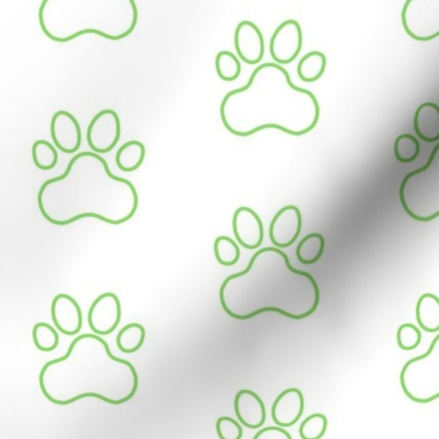Fabric by the Yard Pawprint Outline Polka dots - 1 inch (2 54cm) - Light  Green (#89DA65) on White (#FFFFFF)