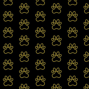 Pawprint Outline Polka dots - 1 inch (2.54cm) - Yellow (#FFD900) on Black (#000000)